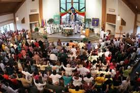 Holding hands at church
