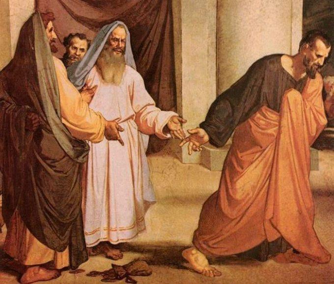 Judas threw 30 pieces of silver