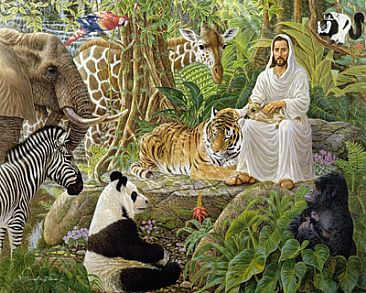 Jesus with the wild animals