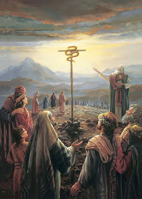 Moses with serpent on pole